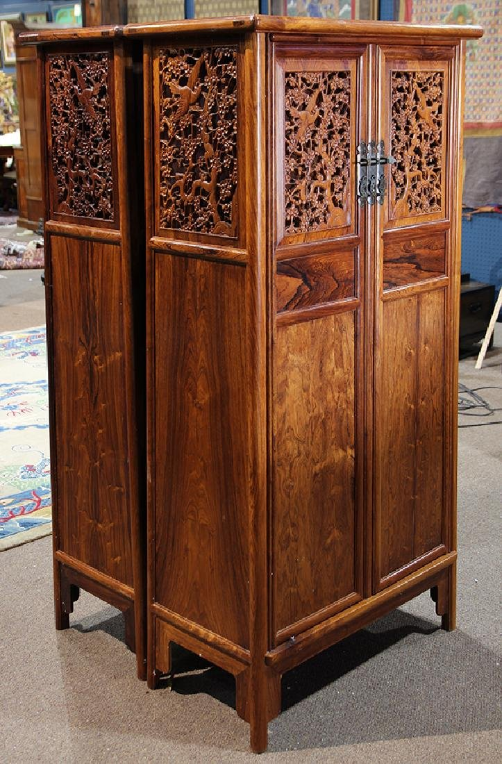 Two Chinese Hardwood Cabinets - 5