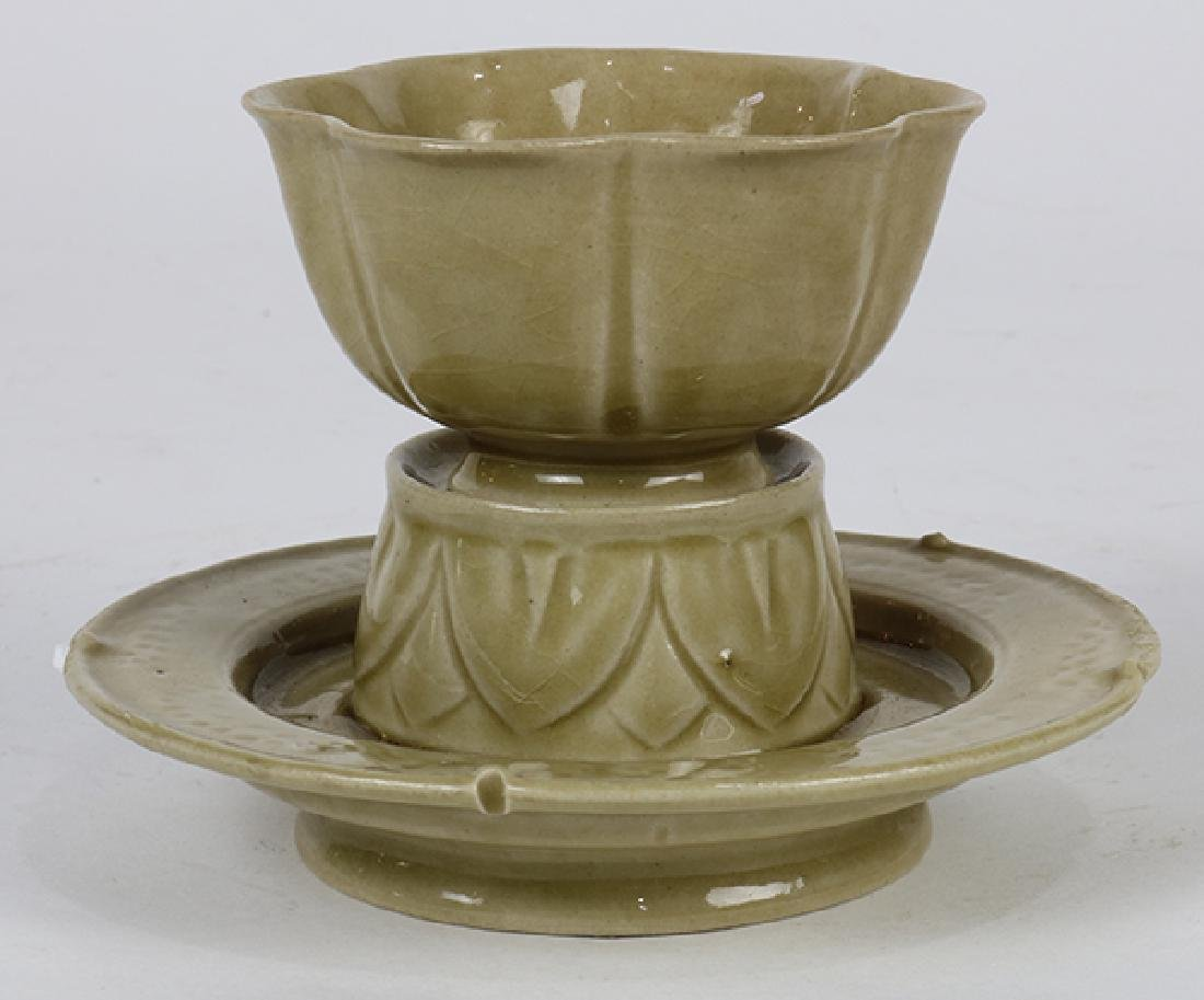 Chinese Celadon Cup and Stand