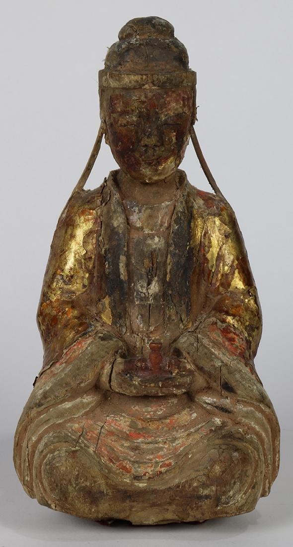 Chinese Gilt Wood Deity