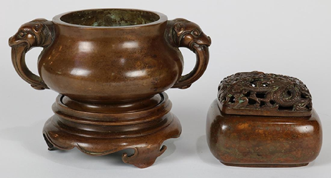 Two Chinese Bronze Censers