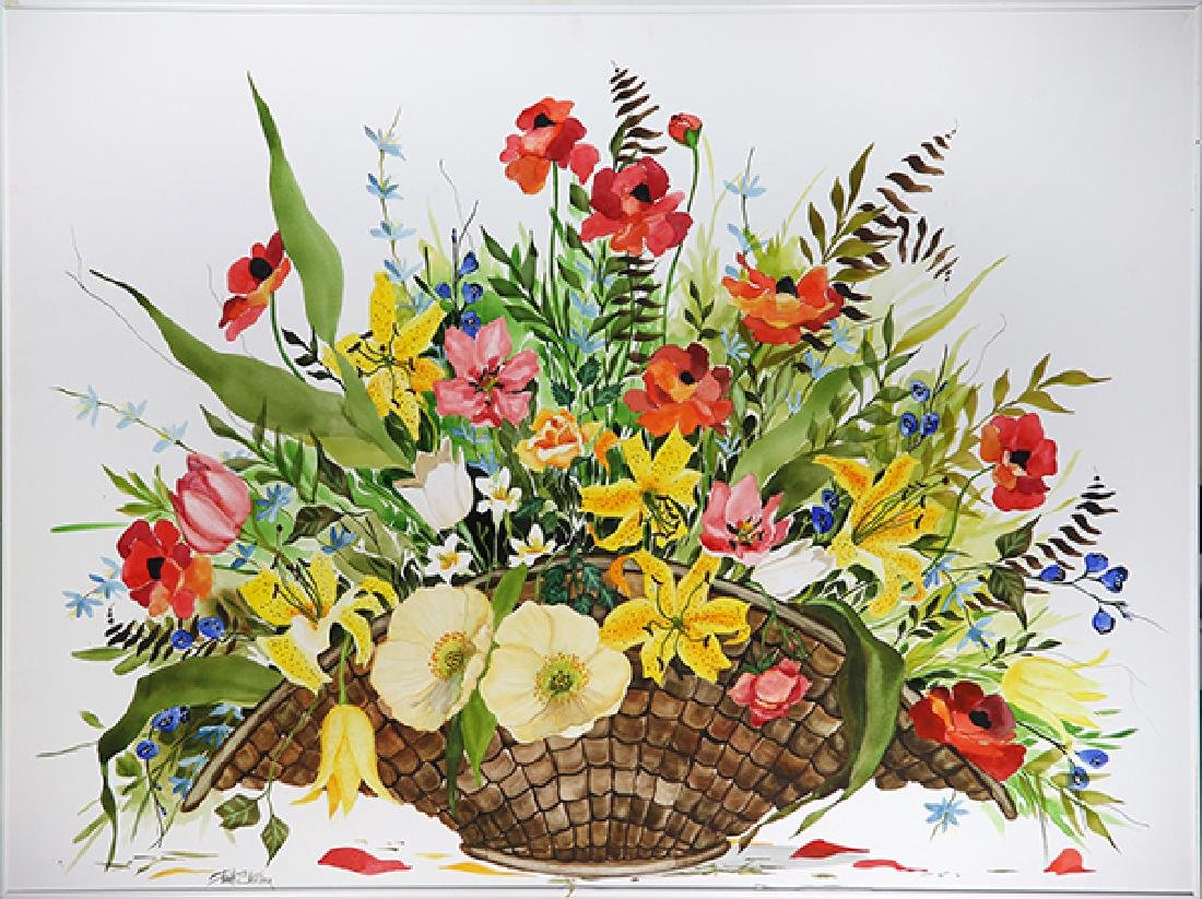 Watercolor, Still Life with Flowers in a Basket