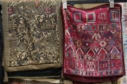 (lot of 4) Textile group, including two Soumak bag