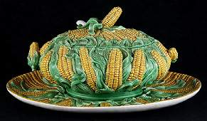 Portugese Majolica style lidded corn tureen, decorated