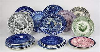 (lot of 20) English scenic decorated blue and white