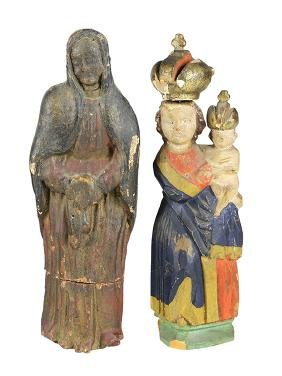 (lot of 2) Continental carved wood Santos figures, 19th