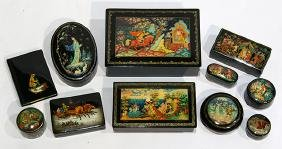 (lot of 11) Russian lacquer box group