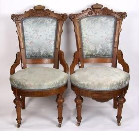 (lot of 2) Victorian Eastlake braceback parlor chairs