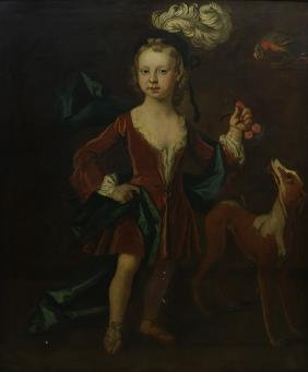 Painting, Portrait Of A Young Man With Dog And Parrot,