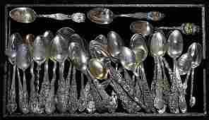 Sterling silver souvenir spoon group,29.26 troy oz.
