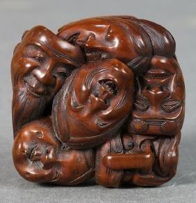 Japanese Wooden Netsuke, 'Masakata' 19c