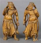 Japanese  Japanese Nio Guardians Carvings 19c