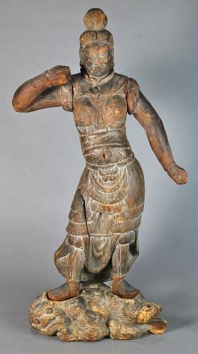 Japanese Wood Temple Gate Figure