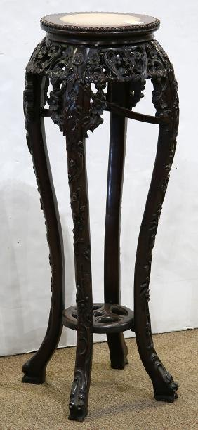Chinese Marble Inlaid Flower Stand