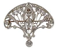 Edwardian diamond, platinum-topped 14k yellow gold pend
