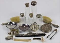 (lot of 22) Group of sterling silver and silver plate