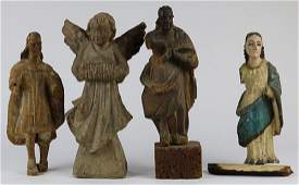 (Lot of 4) Mexican Spanish Colonial carved wood icons,