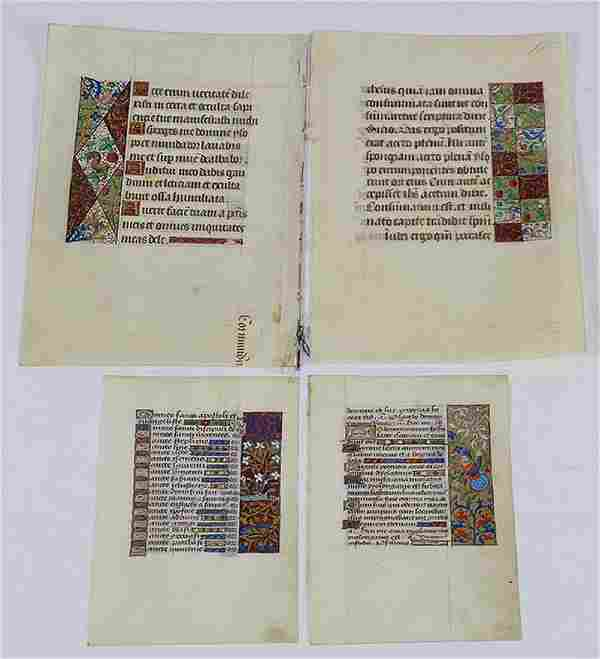 (Lot of 4) French illuminated manuscript pages,