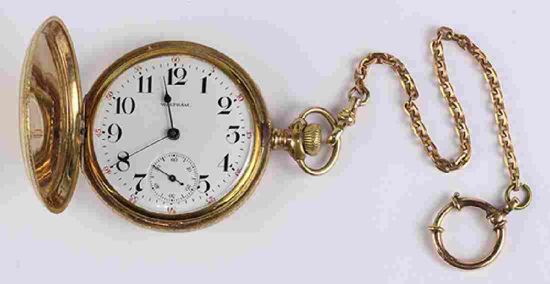 Waltham gold-filled pocket watch with gold-filled chain