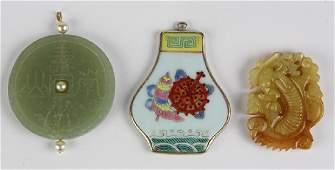 (Lot of 3) Multi-stone, ceramic, imitation pearl, 14k