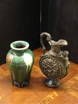 Baluster form bronze ewer with therm