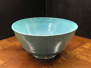 Blue glazed pottery bowl