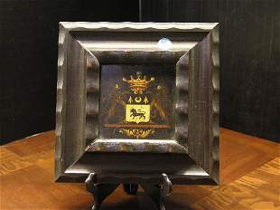 European 19th, coat of arms, oil/panel