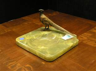 Patinated bronze, painted, onyx ashtray