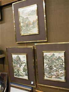 336: Chinese porcelain plaques, landscapes