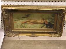 490: Oil, reclining female nude, late 20th c.