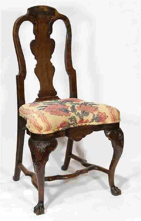 Queen Anne Dutch carved walnut side chair circa 1720,