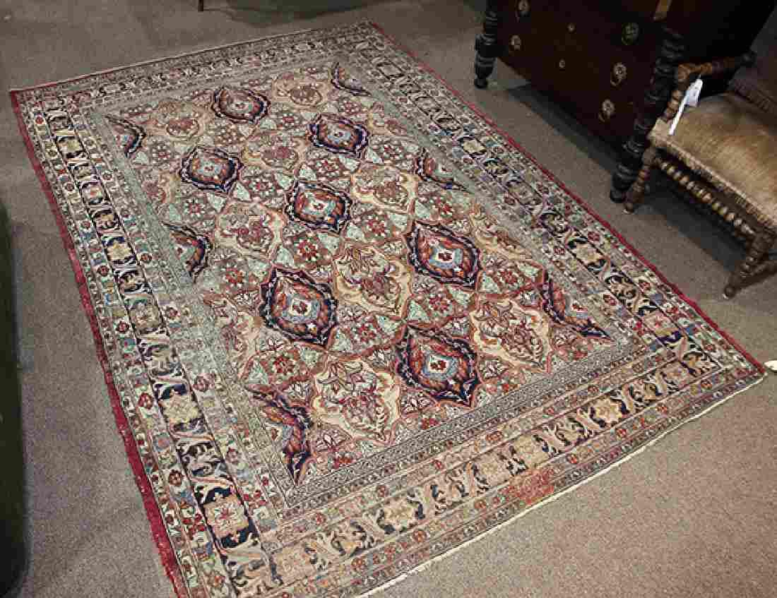 Signed antique Persian Lavar Kerman carpet