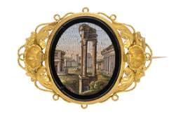 Victorian micro-mosaic 14k yellow gold brooch