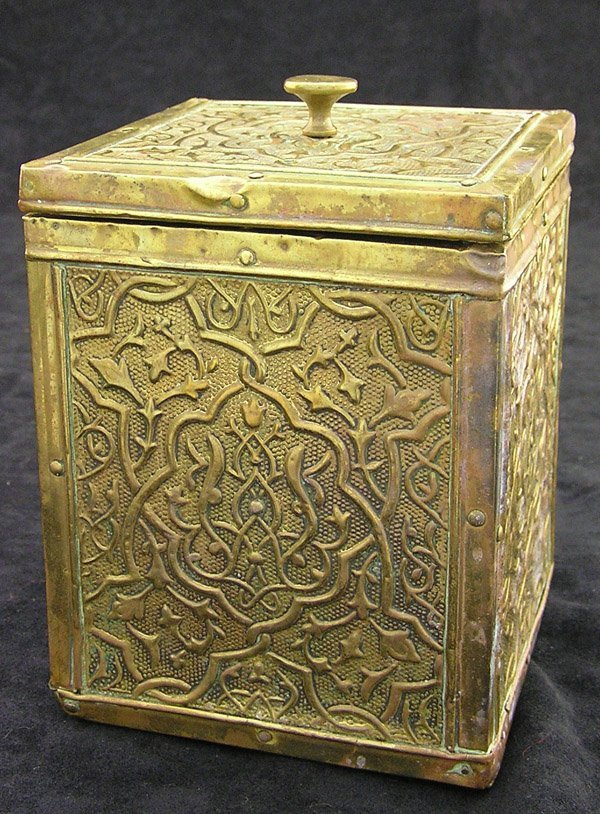 4010: Victorian tea caddy copper tin
