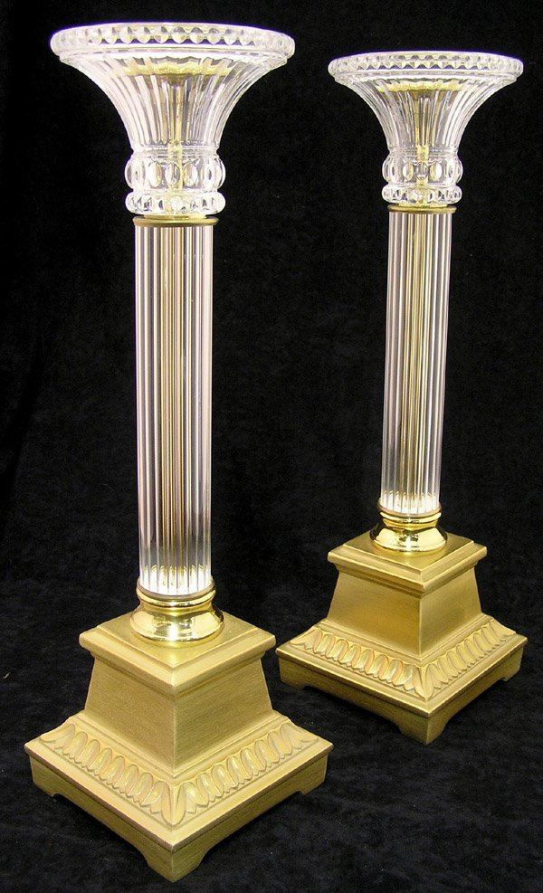 4013: Brass and crystal candle prickets