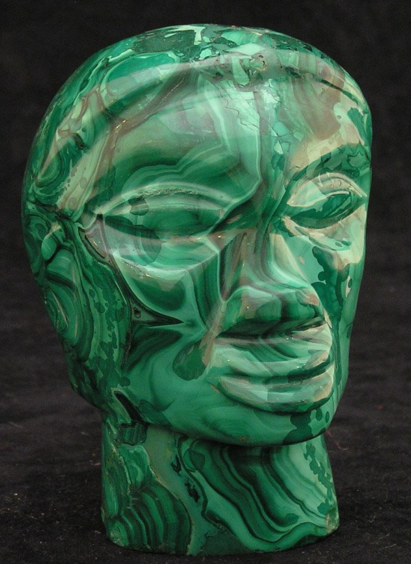 4020: Carved malachite head