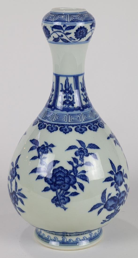 Chinese Blue and White Vase, Flowers