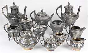 (lot of 12) Aesthetic Movement silver plate tea