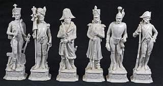 lot of 6 Continental blanc de chine porcelain figural