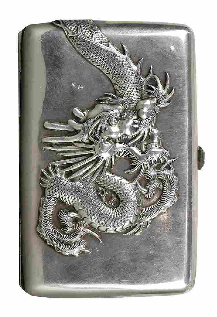Chinese export sterling silver cigarette case executed