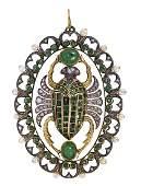 Egyptian Revival emerald, diamond, ruby, freshwater