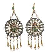 One pair of Egyptian Revival multi-stone and silver