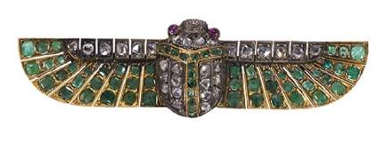 Egyptian Revival emerald, diamond, ruby and