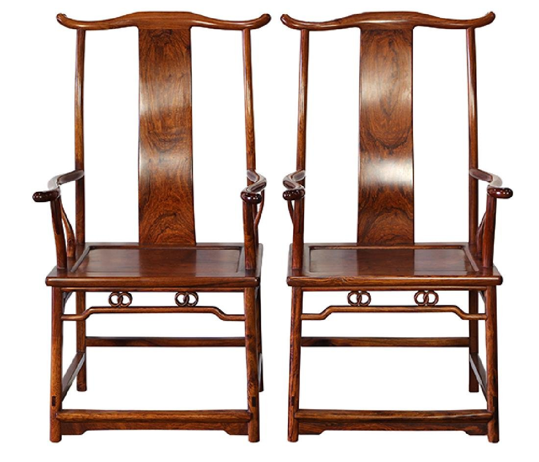 Chinese Huanghuali Official's Hat Armchairs