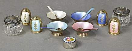(lot of 15) Danish sterling silver enamel table