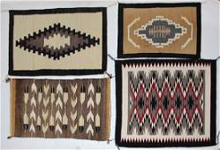 lot of 4 Navajo rugs small largest 28l x 34w
