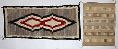 lot of 2 Navajo rugs largest 29l x 59w
