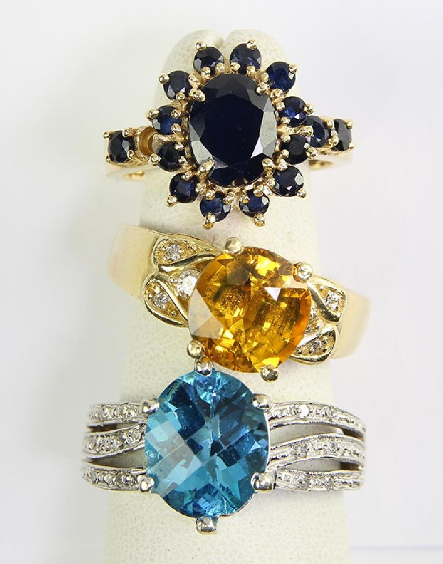 (Lot of 3) Multi-stone, diamond and 14k gold rings