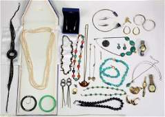 Collection of multistone 14k gold silver and metal