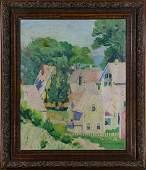 Painting, Coastal Village Scene
