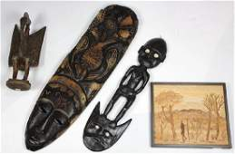 (Lot of 4) Carved wood African and Pacific Island